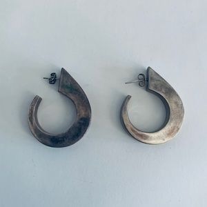 Vintage Sterling Silver Earrings - Dangle Hoops